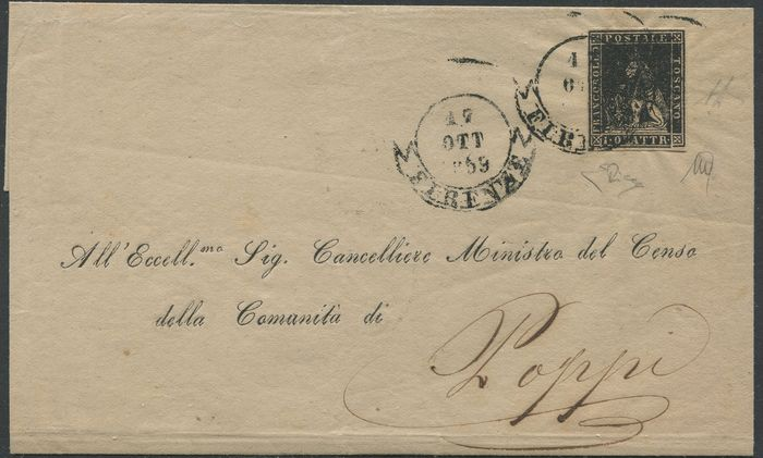 Anciens états italiens - Toscane 1859 - 1 quattrino black isolated in the Provisional Government period from Florence to Poppi - Sassone N. 10