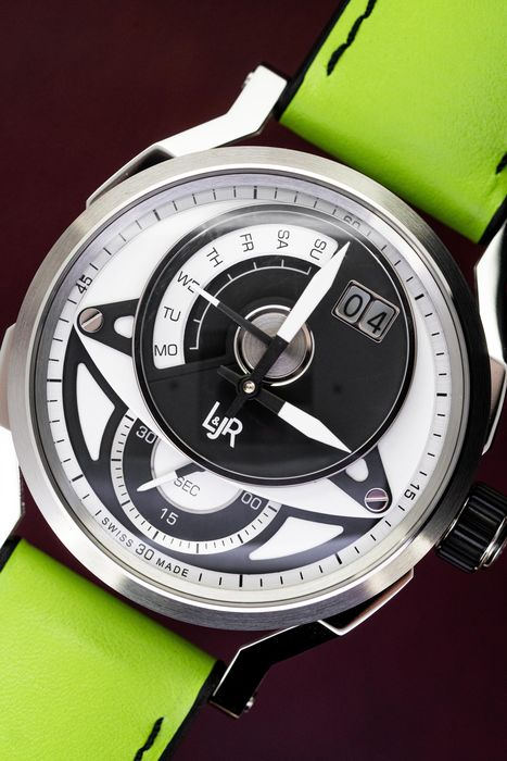 """L&Jr - Day and Date Black and Grey Dial with Green Strap + Extra Black Strap - S1303-S11 """"NO RESERVE PRICE"""" - Uomo - 2011-presente"""