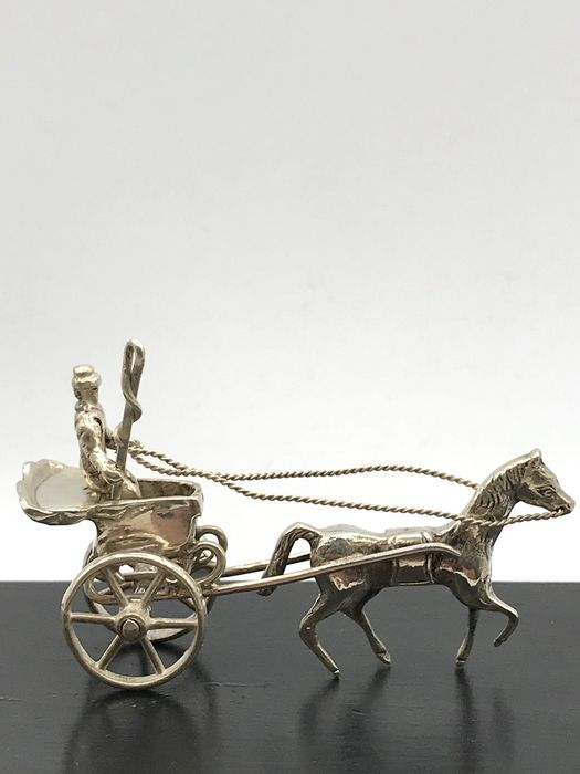 Nederlands gekeurd - Sturdy handmade silver miniature carriage with coachman. - Silver