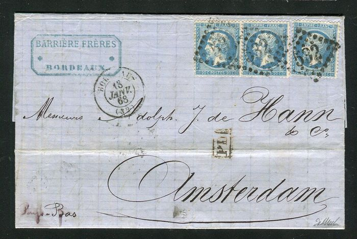 Frankrijk 1868 - A magnificent letter from Bordeaux bound for Amsterdam with three No. 22 stamps.