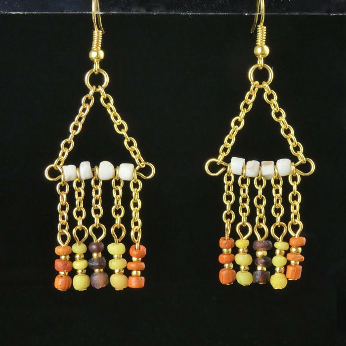 Ancient Roman Glass Earrings with purple, orange, yellow glass and shell beads - (1)