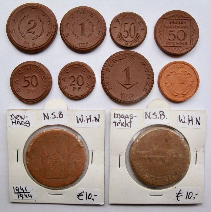 Germany - Collection Emergency coins & Winterhilfswerke medals 1921/1945 (10 different)  - Ceramic