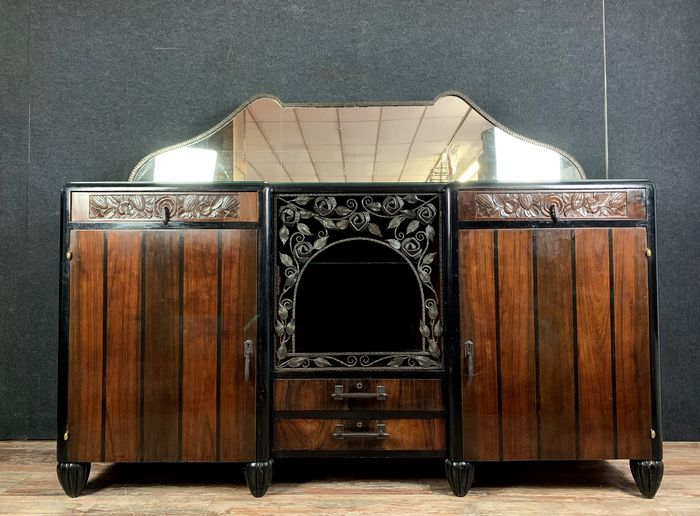 According to Jacques Émile Ruhlmann luxurious sideboard in Macassar ebony