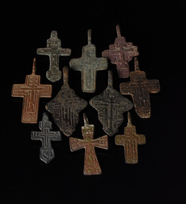Medieval to Post-Medieval Bronze Lot of 10 Crosses