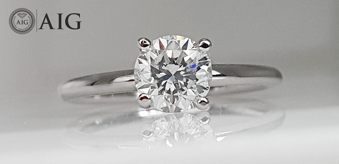 18 quilates Oro blanco - Anillo - 1.02 ct Diamante - Sin reserva VS2