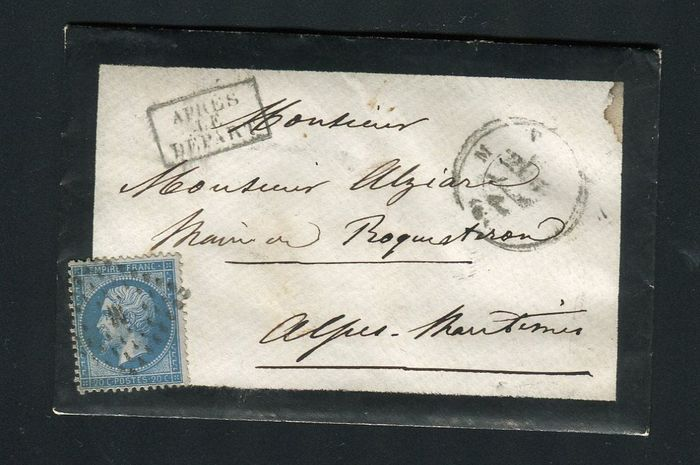 """Frankrijk 1863 - Rare letter from Paris bound for the village of Roquestron - stamped """"M"""""""