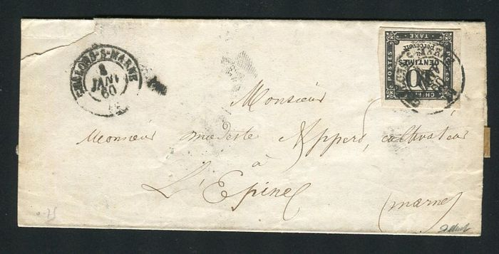 Frankrijk 1860 - Rare postage due letter from Châlons sur Marne bound for L'Epine with postage due N°2A stamp