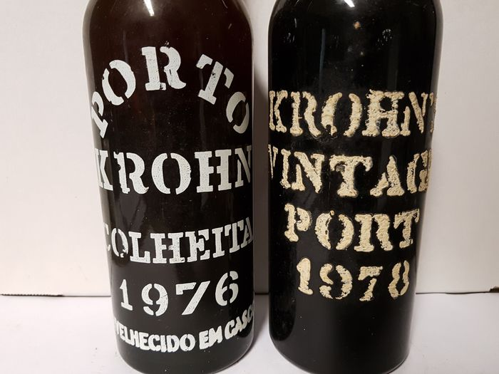 Krohn: 1976 Colheita Port - bottled in 1987 & 1978 Vintage - 2 Flaskor (0,75L)