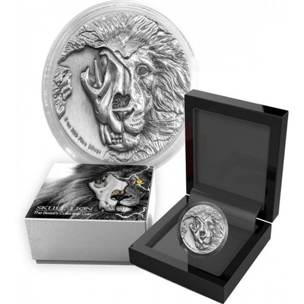 Niue. 5 Dollars 2018 The Beast's Skull – Endangered Asiatic Lion Antique Finish  - 2 oz