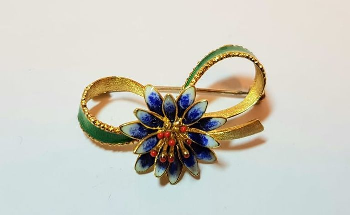 Made in Italy - 18 kt. Yellow gold, Nail varnish - Brooch