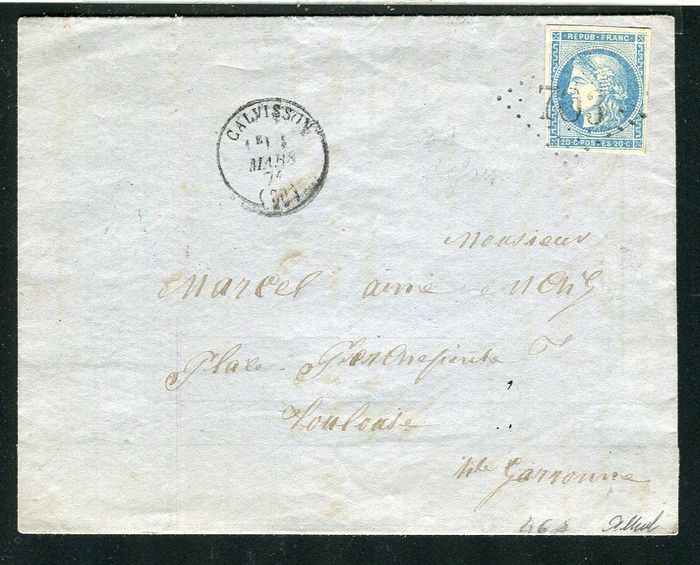 Frankrijk 1871 - Rare letter from Calvisson bound for Toulouse with a N°46A Report 1