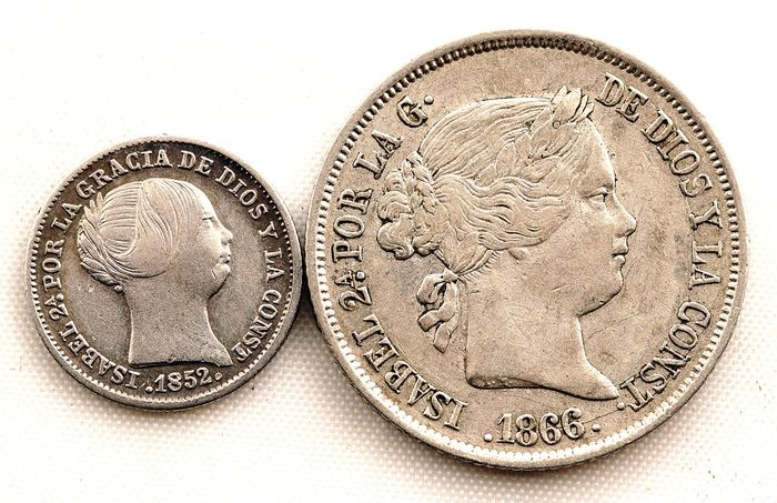 Spain - 40 Centimos de escudo y 1 real   - 1852 y 1866 - Madrid - Isabel II  - Silver