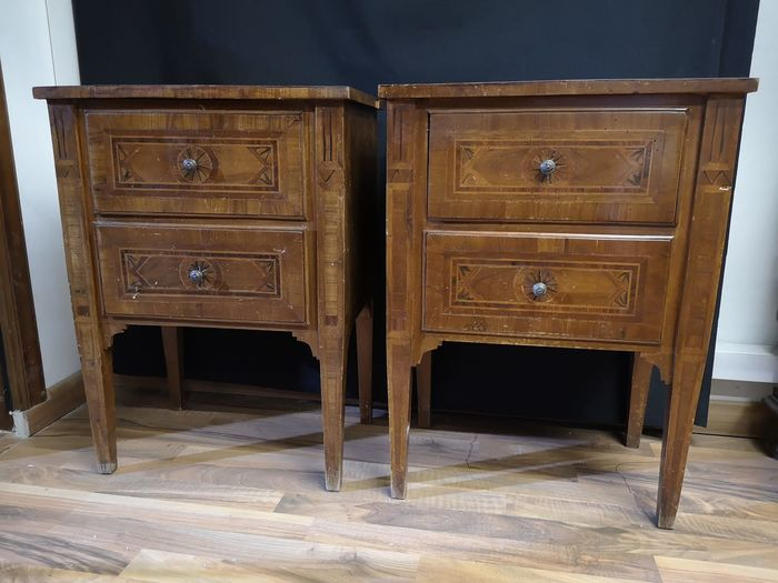 A pair of bedside tables (2) - Louis XVI - Rosewood - Bois de rose - 18th / 19th century