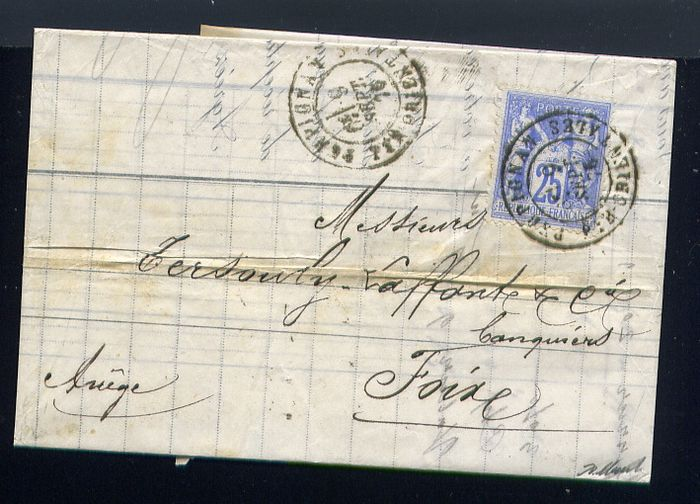Frankrijk 1876 - Rare letter from Perpignan bound for Foix with a N°68 Type 1
