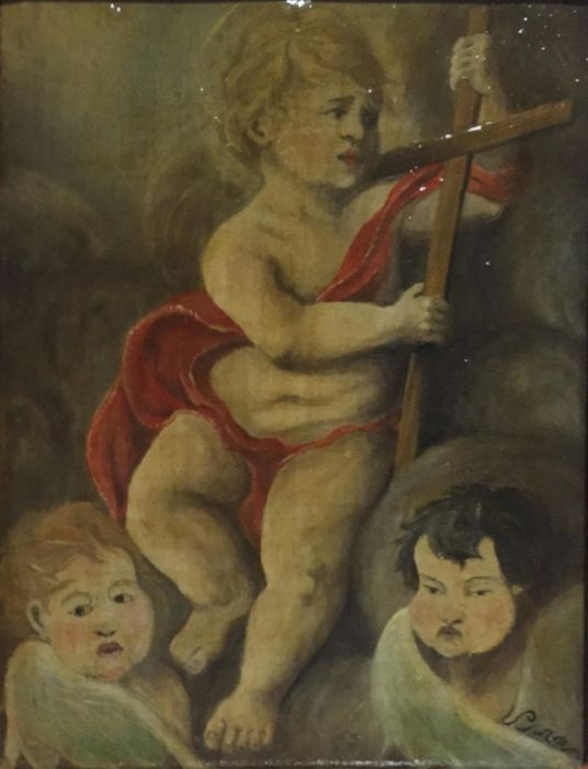 """Painting, """"Baby Jesus with the cross"""" (1) - oil painting on canvas - First half 19th century"""