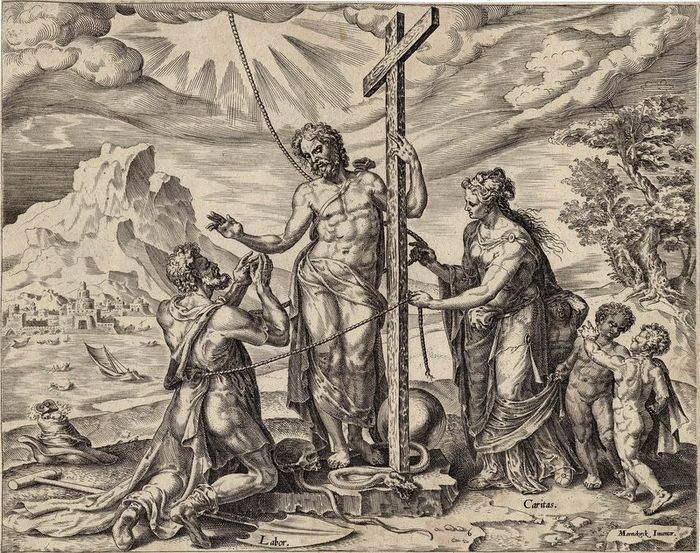 Maerten van Heemskerck (1498-1574) after, Philip Galle (1537-1612), 1572 - After death labor is rewarded with the love of Christ