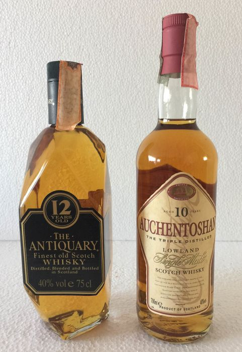 The Antiquary 12 years & Auchentoshan 10 year old - 75cl & 70cl - 2 bottles