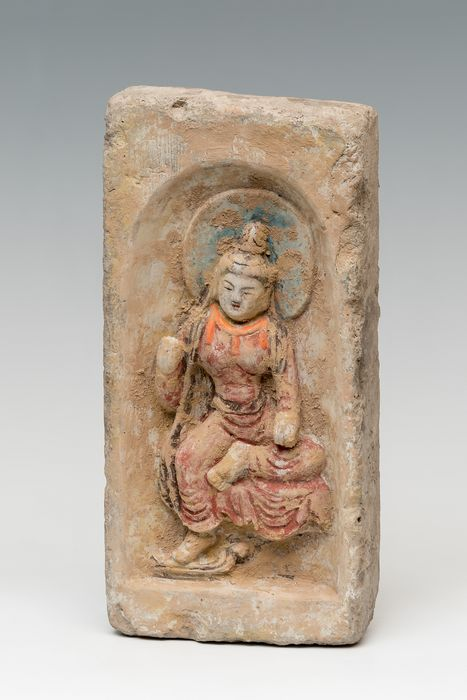 Ancient Chinese Terracotta Brick with figurative representation. - 32.5×16×5.5 cm