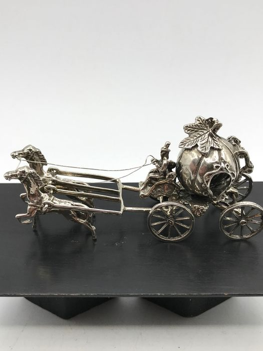 Large 1st grade silver miniature Pumpkin carriage with 2 horses - .925 silver