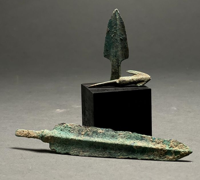 Ancient Greek Archaic Bronze Collection of Three Spears