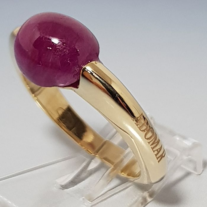 Adomargioielli - 14 kt. Yellow gold - Ring, Ruby - 4.65 ct Ruby