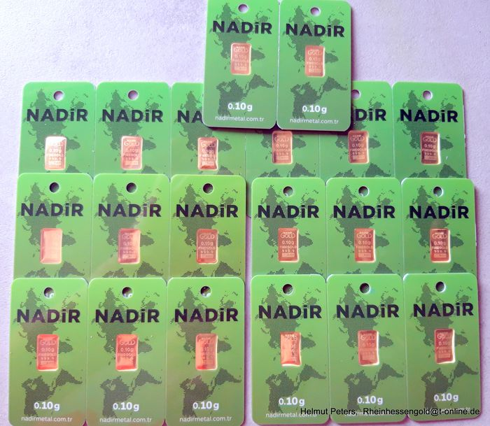 20 x 0,1 gram - Oro .999 (24 quilates) - Nadir - Sello + certificado