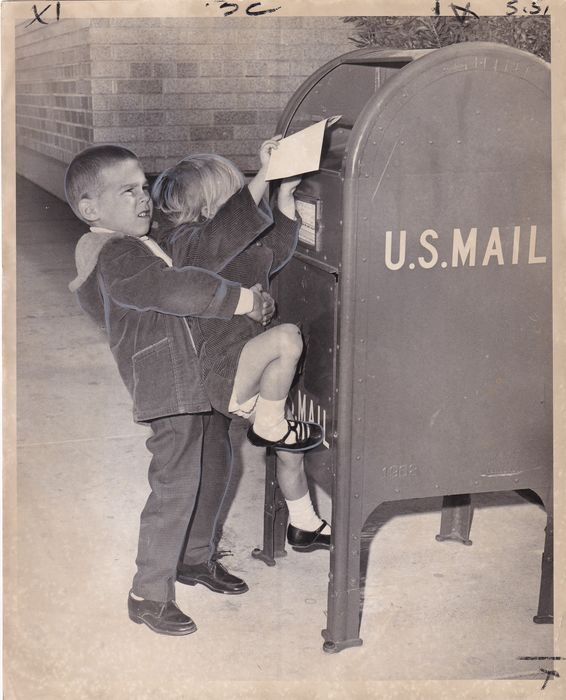 Ralph Uribe - Kevin IIAMS helps sister Jennifer mail her letter to Santa 1968