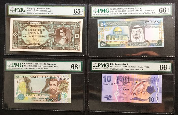 World - Lot varrious banknotes (4 different) in Slabs