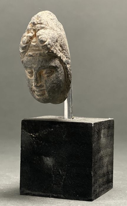 Gandhara Schist Buddha Head Mounted on Stand
