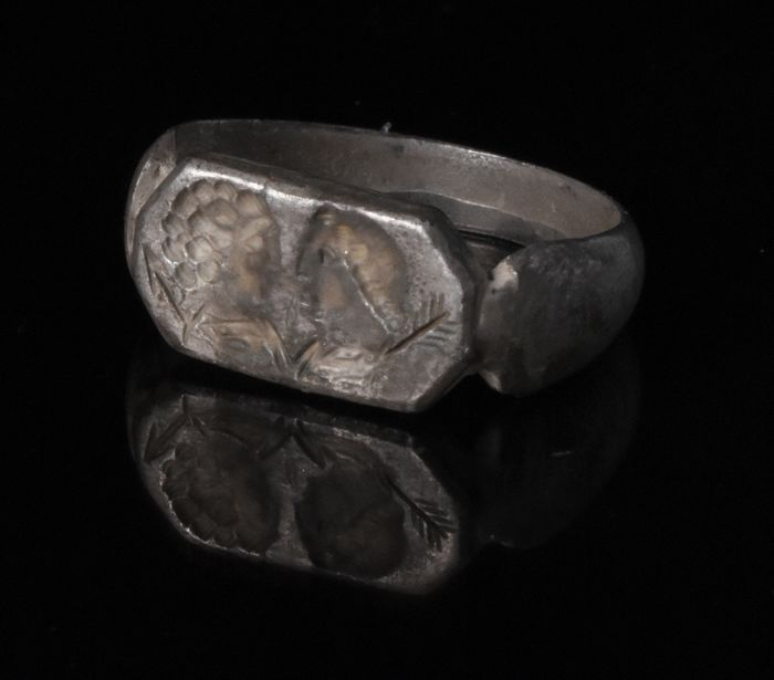 Late Roman Silver Ring with St. Constantine and Helena