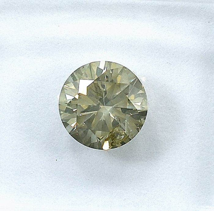 Diamond - 1.01 ct - Brilliant - Natural Fancy Grayish Yellowish Brown - I1 - NO RESERVE PRICE