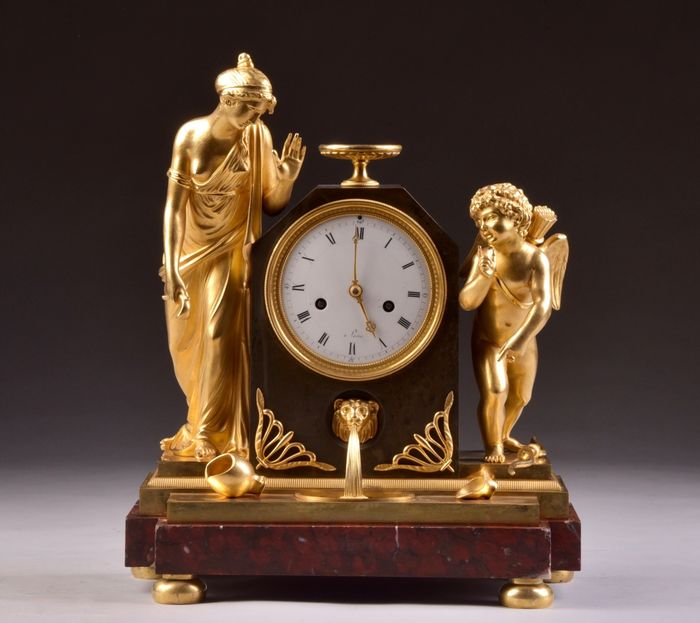 Beautiful French Empire mantel clock - Gilt bronze, Marble - Early 19th century