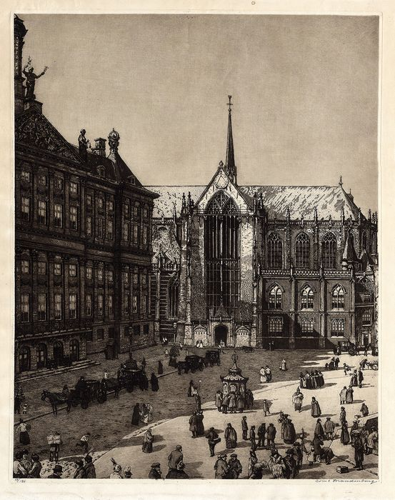 Cornelis Brandenburg (1883-1954) - Extra large antique print with a view of the Dam Square in Amsterdam.