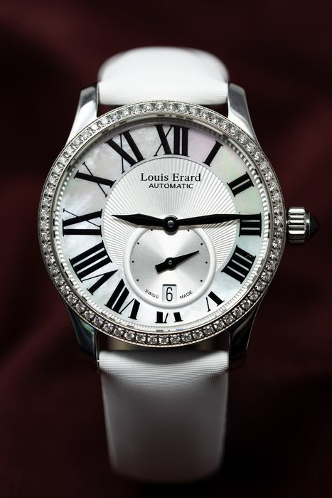 Louis Erard - 64 Diamonds for 0,76 Carat Mother of Pearl Dial Emotion Collection Swiss Made White Satin Strap  - 92602SE01.BDS93 - Women - Brand New