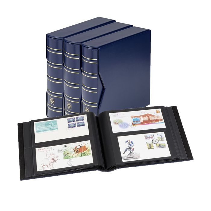 Leuchtturm - 3 FDC albums + sheets for 600 FDCs + Slipcases