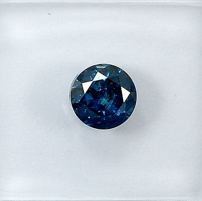 Diamond - 0.57 ct - Brilliant - Fancy Deep Blue - I2 - NO RESERVE PRICE Treated Colour