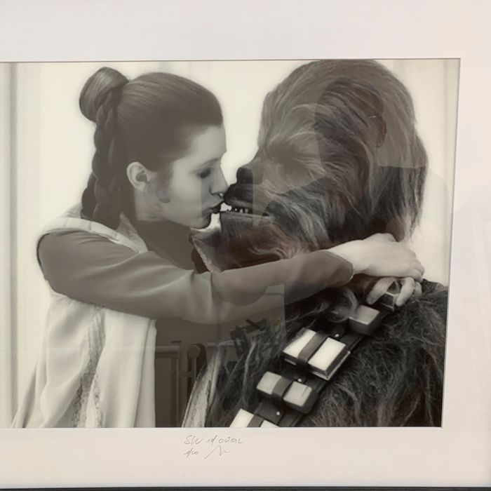 Star Wars - The Empire Strikes Back - Leia (Carrie Fisher +)  and Chewie (Peter Mayhew +)  on set - 1 - Photogrph, Mounted & Framed