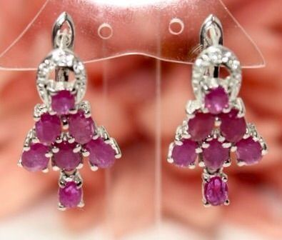 18k (gold plated) silver earrings with rubies Polished - 29×14×0 mm - 8 g