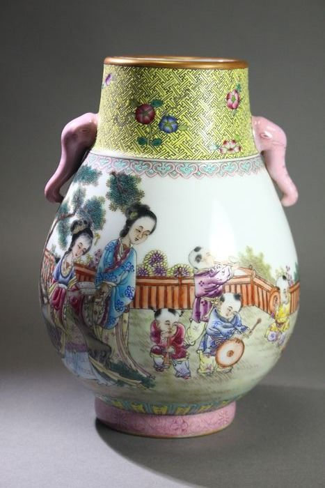 Vase - Porcelain - A Hand painted vase with children playing. - China - Modern