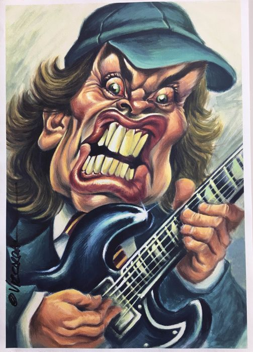 AC/DC - Angus Young - Canvas Giclée 3/5 - Vizcarra Signed - Artwork/ Painting - 2018/2019