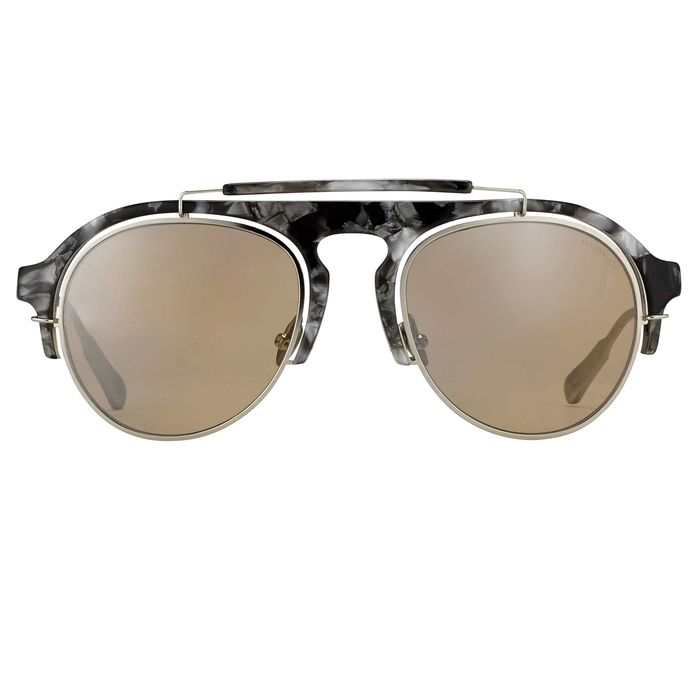 "Kris Van Assche - Aviator Black Tortoiseshell Silver and Orange Mirror Lenses - KVA65C5SUN ""NO RESERVE PRICE"" Sunglasses"