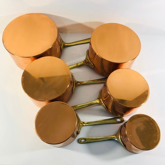Authentic set of copper pans with brass handle (3.4 kg) (6) - Koper, Messing