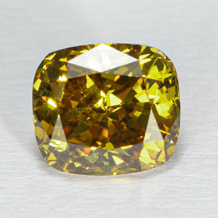 Diamond - 1.02 ct - Cushion - Natural Fancy Deep Brownish Yellow - I1 - NO RESERVE PRICE