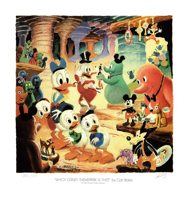 Hand initialled Carl Barks lithograph. No reserve! - Hand-initialled by Barks - Which Disney Theme Park Is This? - Eerste druk - (1986)