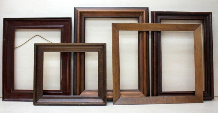 Brown gel-stained vintage picture frames (5) - lime wood and oak