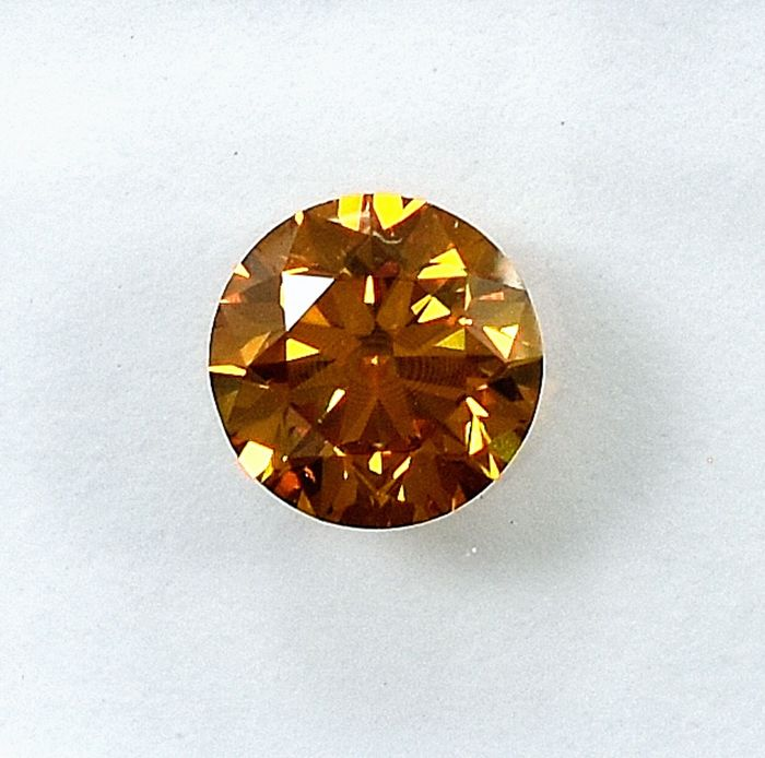 Diamond - 0.61 ct - Brilliant - Natural Fancy Deep Orangy Yellow - Si1 - NO RESERVE PRICE - VG/VG/G
