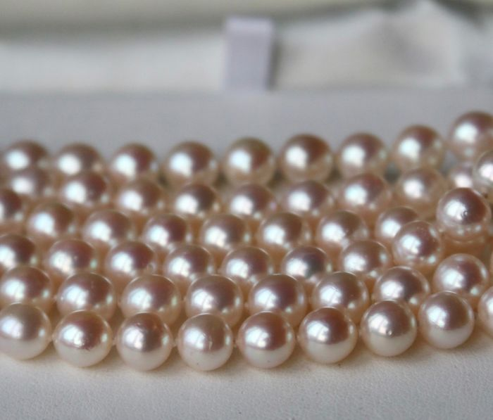 Japanese Akoya pearls - Very long endless Necklace (90cm) - genuine saltwater round pearls ø. 6.7-7mm