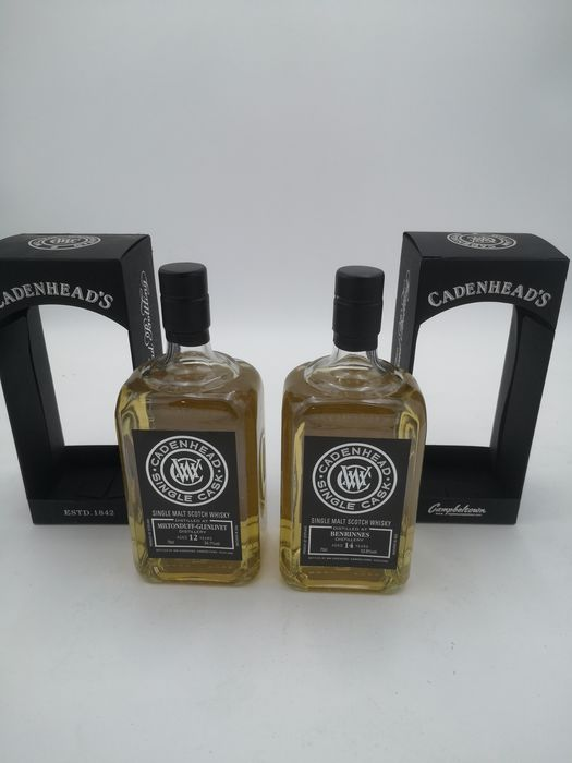 Benrinnes, Glenlivet, Miltonduff, Benrinnes 14 years old & Miltonduff 12 years old single cask - Cadenhead's - 70cl - 2 bottles