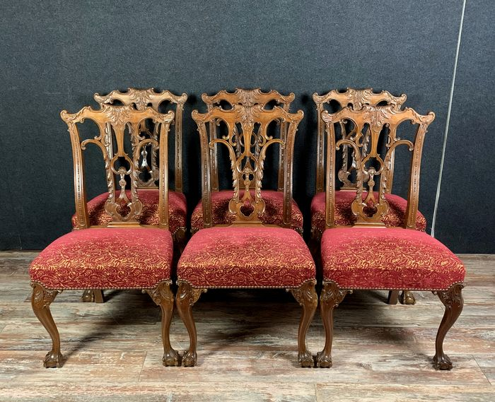 Dining chair, George II-stijl (6) - Mahonie - Eind 19e eeuw