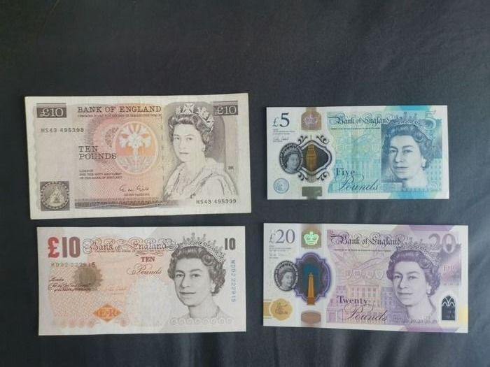 Groot-Brittannië - 4 different banknotes - total 45 Pound - Various dates